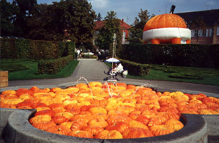 Fountain filled with pumpkins